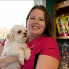Registered veterinary technician holding onto a white dog